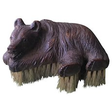 Unusual Black Forest Reclining Bear Clothes Brush