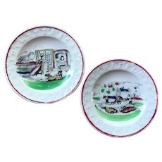 Pair of Small ABC Children's Plates - Hand Painted Transferware Staffordshire Pottery - J & G Meakin