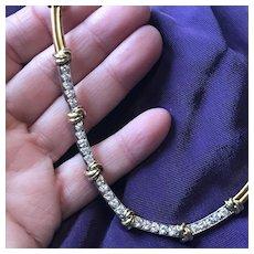 Perfect Diamond & Gold Necklace -- 19 Love Knots - 25 Brilliant Cuts - 18K Two Color Gold