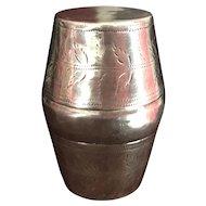 Barrel Shaped Nutmeg Grater - English Sterling Silver - Joseph Taylor 1799