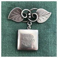 Georg Jensen USA Pin with R. Blackinton Locket - Sterling Silver -1940's