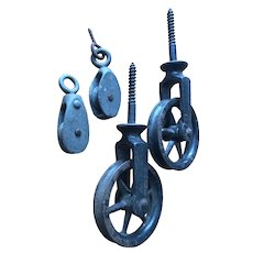 Group of 4 Cast Iron Pulleys - A Pair of Screw-in Pulley Wheels -plus 2 Small Single Pulleys