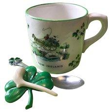 Irish Trio - Carrigaline Pottery Mug + Sterling Enamel Spoon (Dublin 1962) + Shamrock and Pipe Pin