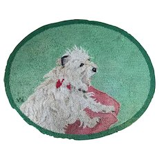 Hand Hooked Rug By George Wells - Portrait of a White Terrier