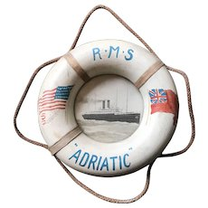 R M S  ADRIATIC  Souvenir Lifesaver - Hand Painted Wood with Photograph - White Star Line
