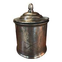18th Century Pewter Tobacco Jar with Original Lead Presser