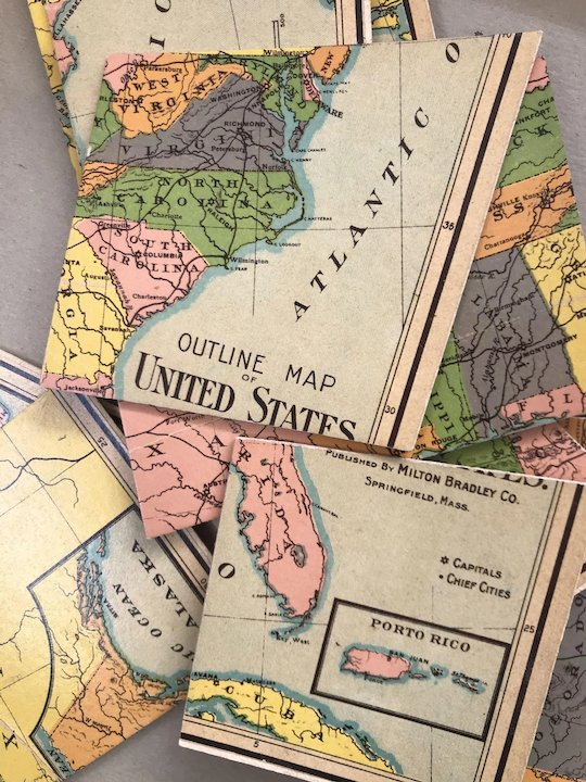 Milton Bradley Boxed Antique Map Puzzle of the United States Circa ...