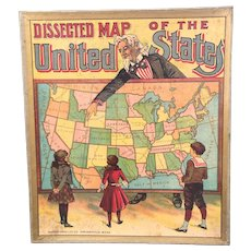Milton Bradley Boxed Antique Map Puzzle of the United States Circa 1900 - With Indian Territories
