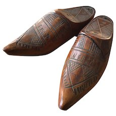 Pair of Carved Wooden Dutch Snuff Shoes - Circa 1890