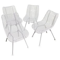Set of 4 Russell Woodard Sculptura Wire Mesh Chairs