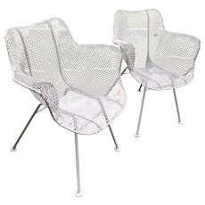 A Pair of Russell Woodard Sculptura  Arm Chairs - Wire Mesh