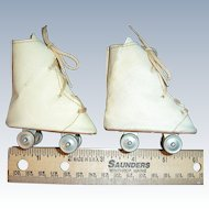 "ON SALE Vintage 1950s Doll Roller Skates Lace Up White Vinyl 3"" x 1 1/4"""