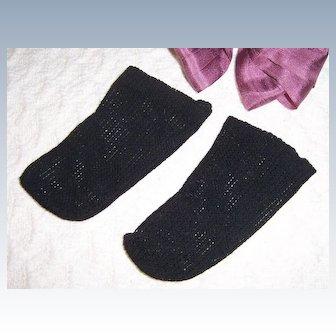 Doll Socks French German Open Weave Knit Black