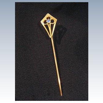 SALE 14K Krementz Stick or Lapel Pin w Blue Stone.  Shield Design.
