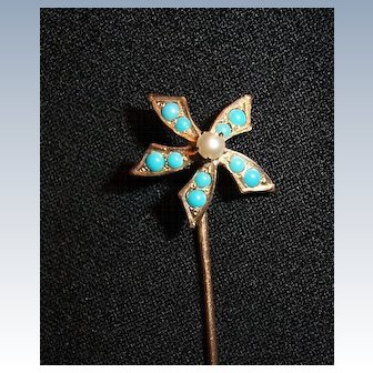 Vintage Stick Pin Turquoise colored Stones Flower Petal Design Lapel Pin
