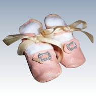 "A Lovely Antique Pink Oil Cloth Doll Shoes. 2 3/4"" x 1 1/8"" for Med Size German or French Dolls"