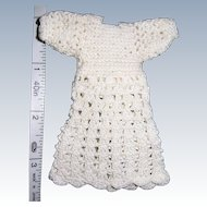 """Tiny Dress for 5"""" to 6"""" All Bisque Doll. Hand Crocheted White Cotton. Sweet"""