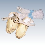 "SALE Small Effanbee Dy-Dee Baby Shoes 1 5/8"" x 7/8"" for 11"" Doll. Includes Socks."