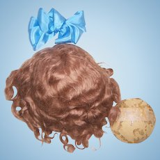 "Antique Wig. 15"" Mohair & Orig Pate. Warm Brown for French or German Doll."