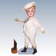 "Bahr & Proschild Rare Mold 297 dep Antique 12"" German Bisque Head Sailor Boy Doll c 1888"