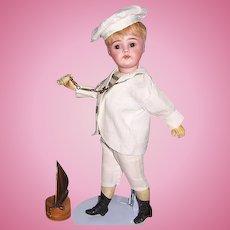 """Bahr & Proschild Rare Mold 297 dep Antique 12"""" German Bisque Head Sailor Boy Doll c 1888"""