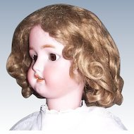 HUGE SALE Antique Mohair Wig. 14 - 15 1/2 inch w Orig Pate. Soft Light Brown for French or German Doll.