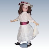 "Sweet 22"" Antique German Bisque Head Doll by Schoenau & Hoffmeister Co. Display Ready"
