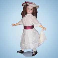 "Sweet 22"" Antique German Bisque Head Doll by Schoenau & Hoffmeister Co. Display Ready"