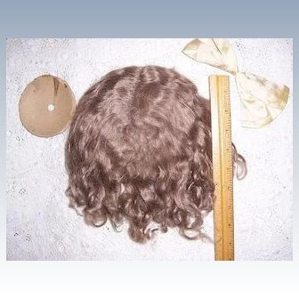 Antique Doll Wig Size 14+ for French or German Doll w Orig. Pate and Silk Bow.