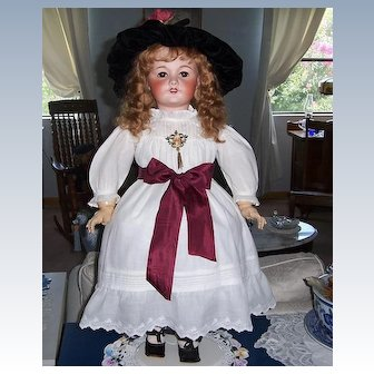 """French Bisque Head Doll Unis 301. Chunky 26"""" tall. Circa 1920 Display Ready."""