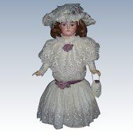 """Silk & Lace Designer Doll Dress  w Matching Bonnet & Accessories Vintage 28-30 plus"""""""