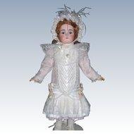"""Designer Doll Dress w Matching Bonnet, Slip, Pantaloons. Pink Moire for 27""""-30"""" Doll"""
