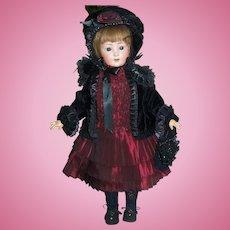 """Designer Doll Fashion Costume, Dress Jacket Bonnet Pantaloons Slip Purse Burgundy / Velvet 25-26"""""""