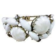 Vintage White Art Glass Chunky Clamper Bracelet
