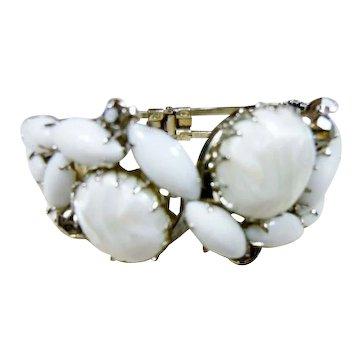 Juliana D & E Large & Bold White Art Glass Chunky Clamper Bracelet