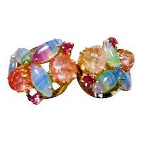 Vintage Juliana D & E  Rhinestone Multi Colors Clamper Bracelet