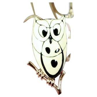 Vintage Eisenberg Enameled Owl Necklace Signed & Minty!!