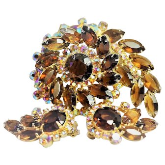 Vintage Juliana D & E Rhinestone Brooch and Matching Earrings - Super Nice!!