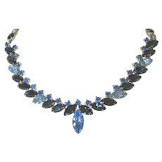 Vintage Kramer Blue Rhinestone Necklace - Signed