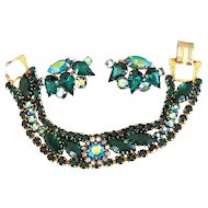 Superb Weiss Emerald Green Bracelet and Earrings