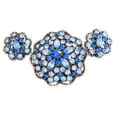 Signed Weiss Blue Rhinestone Parure