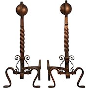 Pair of Hand-Forged Iron Andirons, 19th Century