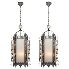 Substantial Antique Gothic Revival Lanterns, Iron & Brass, c. 1910
