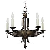 Unusual Antique Cast Iron Tudor Chandelier, C.1920
