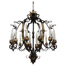 Substantial Antique Twelve-Light Two-Tone Iron and Bronze Chandelier