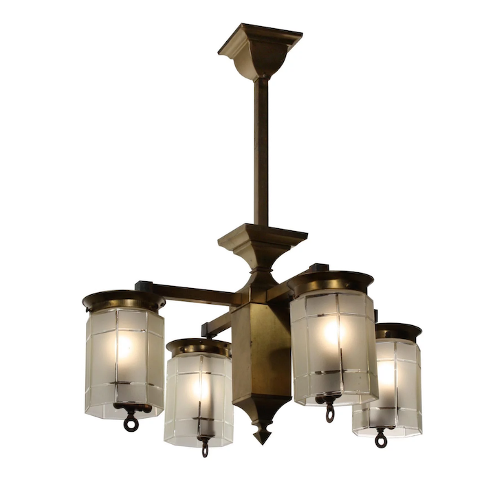 Striking Antique Br Arts Crafts Four Light Gas Chandelier Early 1900s