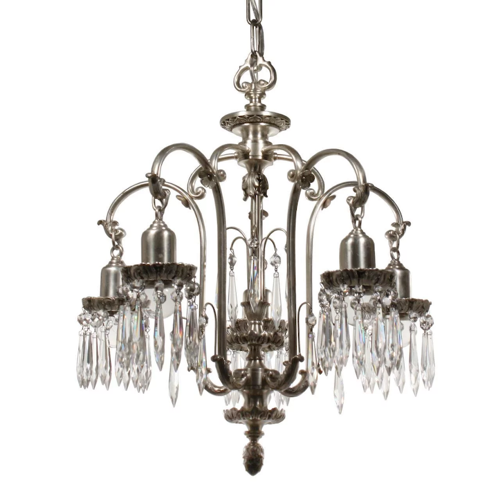 Antique Silver Plated Chandelier With Prisms Early 1900s