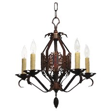 Tudor Chandelier with Shields, Antique Lighting