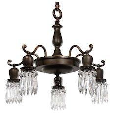 Antique Chandelier with Prisms, c.1910