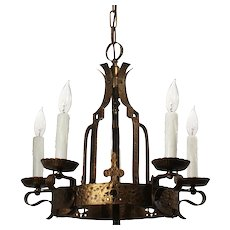 Spanish Revival Cast Brass Chandelier, Antique Lighting